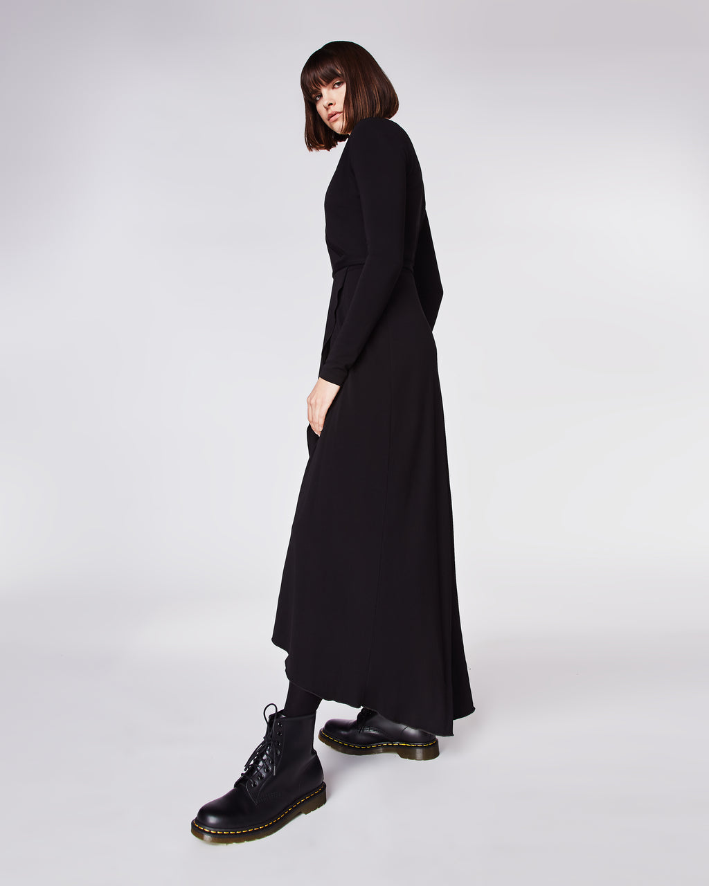 BA10143 - ST. MATTE JERSEY WRAP DRESS - dresses - long - Chic and comfortable, this matte stretch jersey maxi dress features long sleeves, a wrap silhouette and subtle high-low hemline. Unlined.