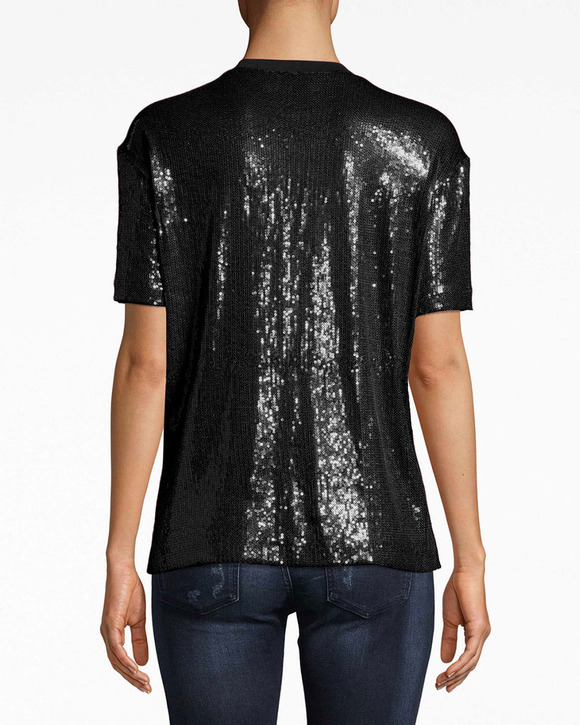 BA10164 - SEQUIN T-SHIRT - tops - shirts - Your jeans and t-shirt look just got party ready. Wear this high-low sequin t-shirt with dress pants or denim. The rounded, simple neckline balances everything out. Alternate View