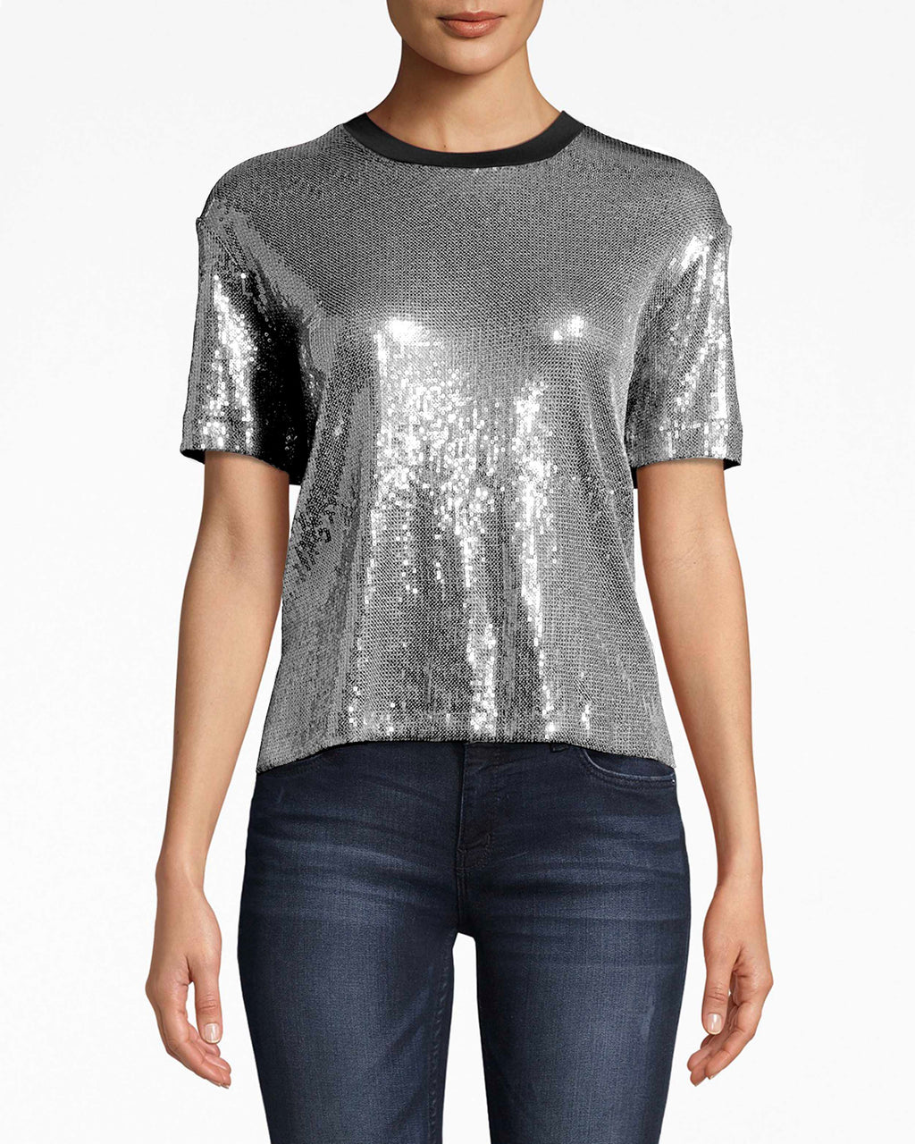 BA10164 - SEQUIN T-SHIRT - tops - shirts - Your jeans and t-shirt look just got party ready. Wear this high-low sequin t-shirt with dress pants or denim. The rounded, simple neckline balances everything out.