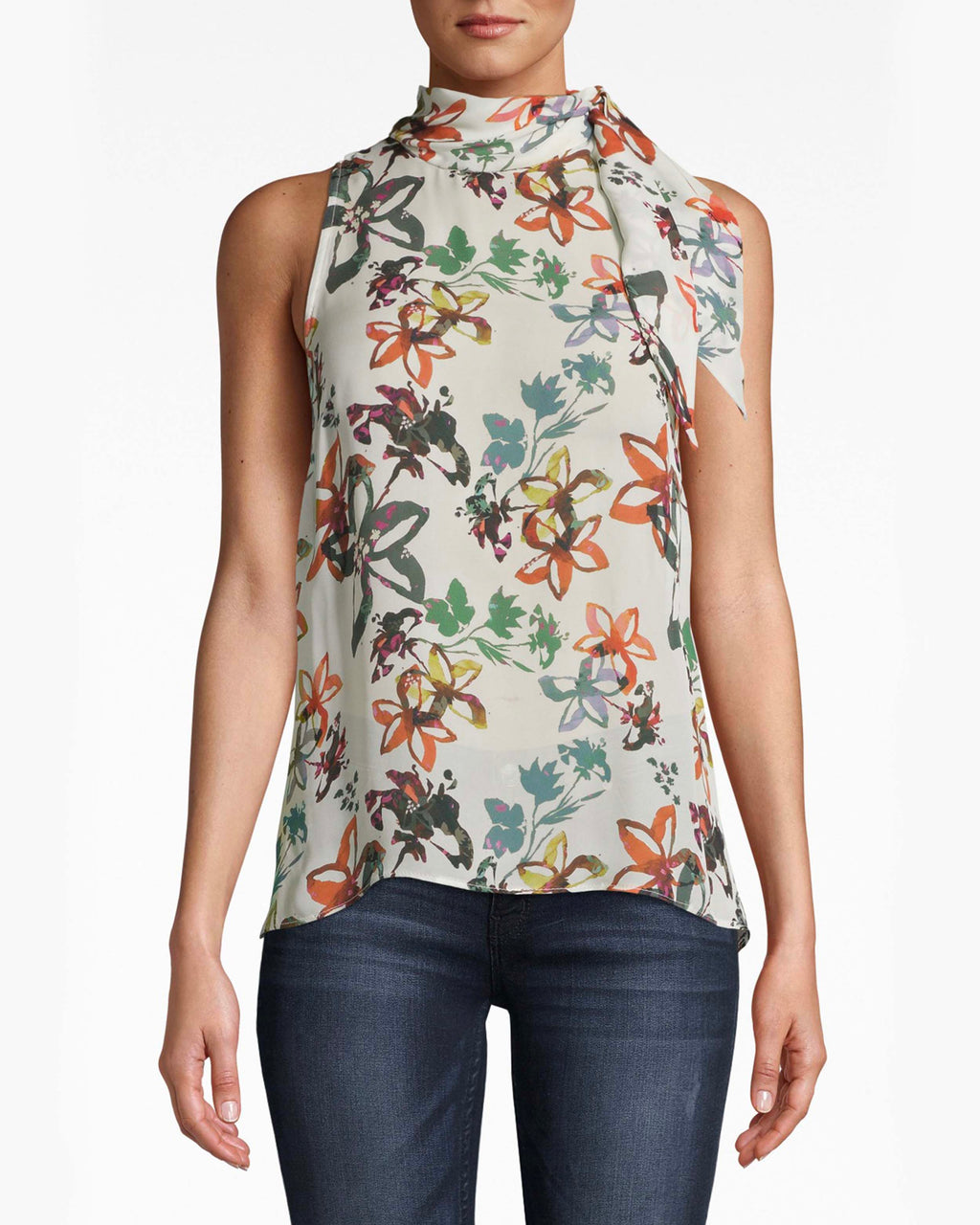 BA10171 - AUTUMN DREAM SILK STOCK TIE BLOUSE - tops - blouses - We're dreaming of Autumn. This silk sleeveless blouse is perfect with denim, featuring a turtleneck tie that adds a new element of chic.