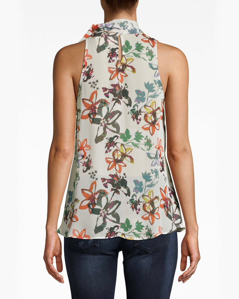BA10171 - AUTUMN DREAM SILK STOCK TIE BLOUSE - tops - blouses - We're dreaming of Autumn. This silk sleeveless blouse is perfect with denim, featuring a turtleneck tie that adds a new element of chic. Alternate View