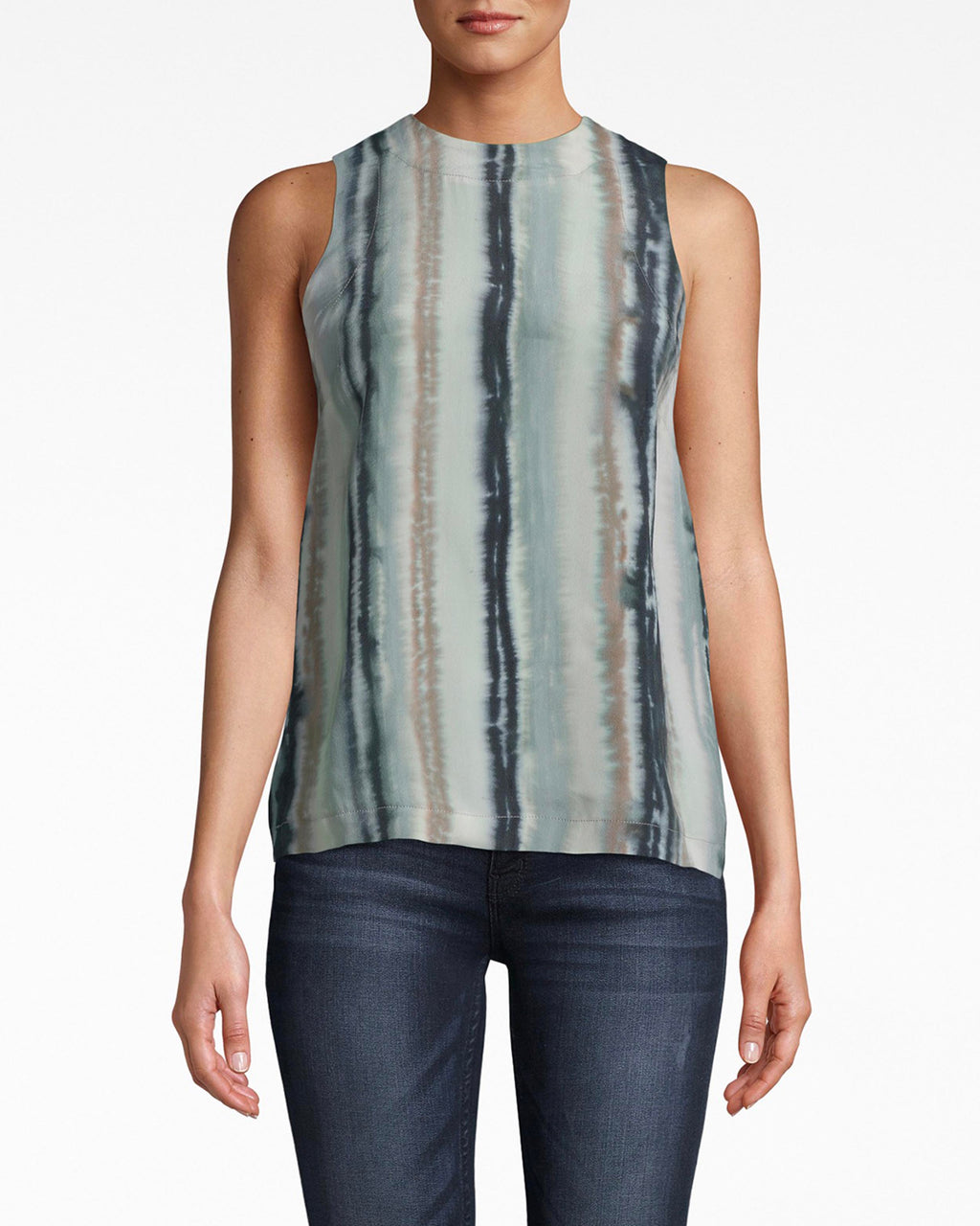 BA10174 - INK STRIPE SILK TANK TOP - tops - blouses - The perfect match for denim. The stripes on this high neck tank elongate your silhouette. The color palette balances between vivid and subdued. Exposed back cutout and button for closure.