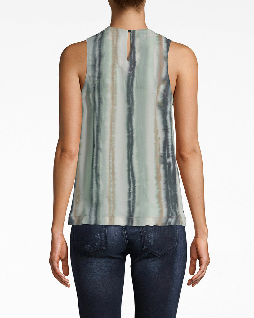 BA10174 - INK STRIPE SILK TANK TOP - tops - blouses - The perfect match for denim. The stripes on this high neck tank elongate your silhouette. The color palette balances between vivid and subdued. Exposed back cutout and button for closure. Alternate View
