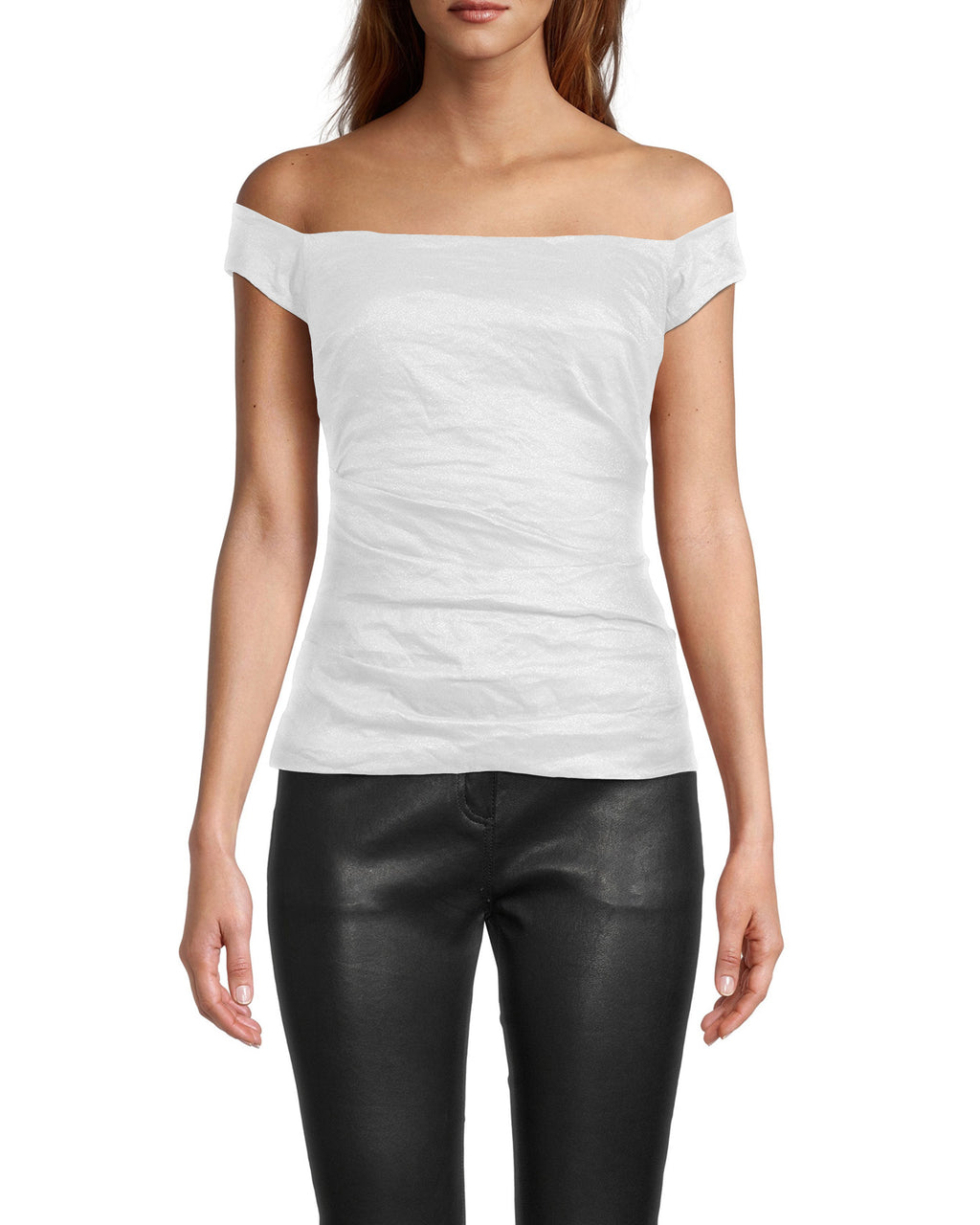 BB0271 - LOLA COTTON METAL TOP - tops - shirts - Designed in our best-selling cotton metal fabrication, this elevated basic is off the shoulder with flattering fabric ruching throughout. Add 1 line break Stylist tip: Dress it up for date night with heels or down during the day with denim.