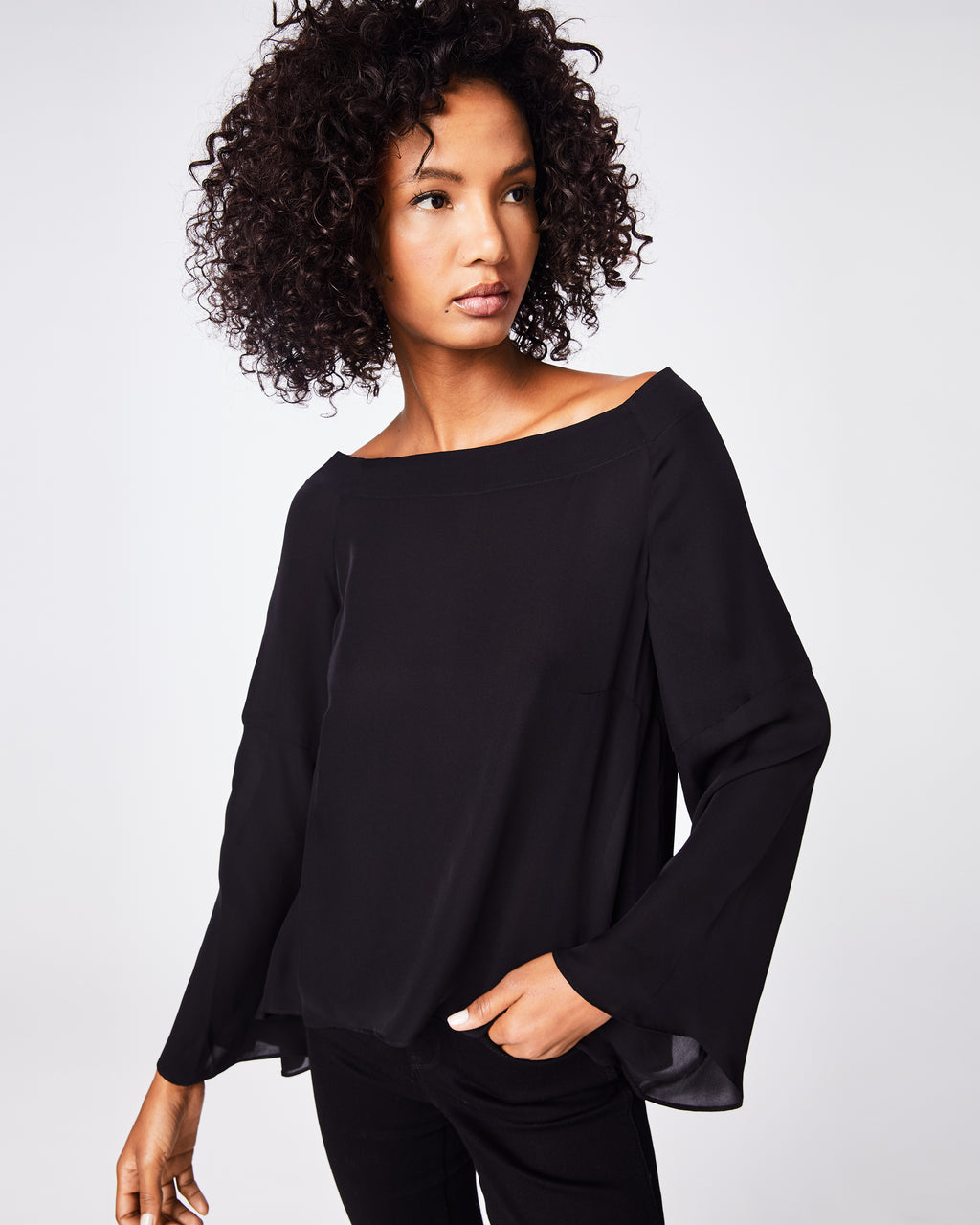 BB10212 - SOLID SILK BLEND OFF THE SHOULDER BLOUSE - tops - blouses - A conservative cut meets a note of flirty. This long sleeve top is structured by a wide neckline that flows into the airy sleeves and hem. It can be paired alone with denim or elevated with a leather jacket.