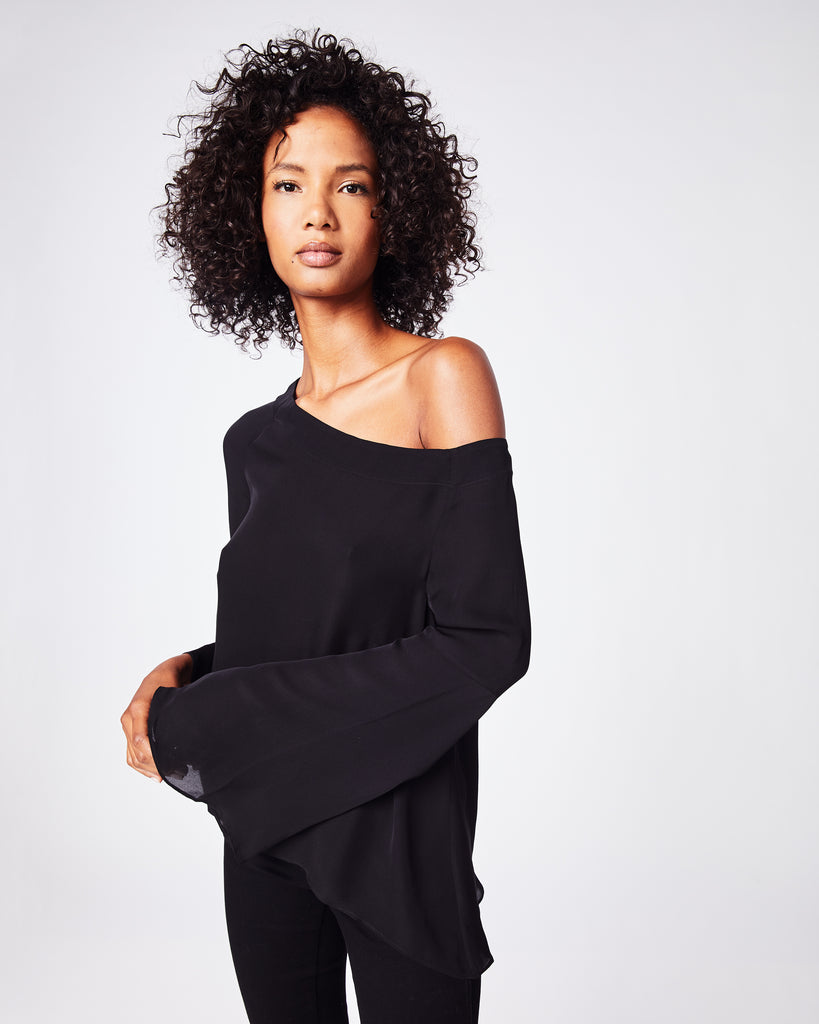 BB10212 - SOLID SILK BLEND OFF THE SHOULDER BLOUSE - tops - blouses - A conservative cut meets a note of flirty. This off the shoulder top has long sleeves that make the in-between months effortless. Fully lined. Alternate View