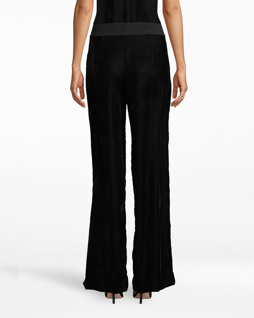 BB10222 - LIGHTWEIGHT VELVET WIDE LEG PANT - bottoms - pants - Velvet fashion is always in. Don these wide leg straight pants to your next occasion. The spandex waistband complements the flowy legs. Alternate View