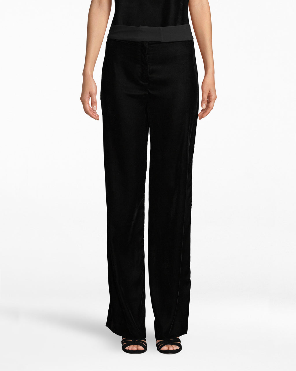BB10222 - LIGHTWEIGHT VELVET WIDE LEG PANT - bottoms - pants - Velvet fashion is always in. Don these wde leg straight pants to your next occasion. The spandex waistband complemetns the flowy legs.