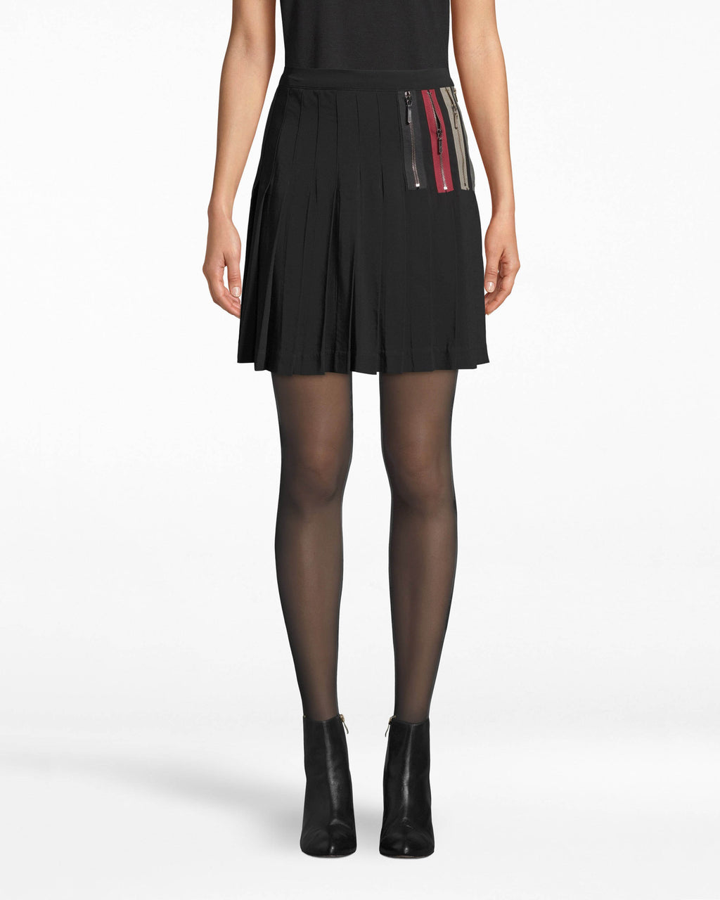BC10298 - EXPOSED ZIPPERS PLEATED MINI SKIRT - bottoms - skirts - Pleats, meet zippers. This above-the-knee skirt is a style of many features, like the chic asymmetrcal hem, unexpected zippers on the hip, and breezy pleating. To match, pair back with our Zipper Stripe Zip Front Boyfriend Blouse.