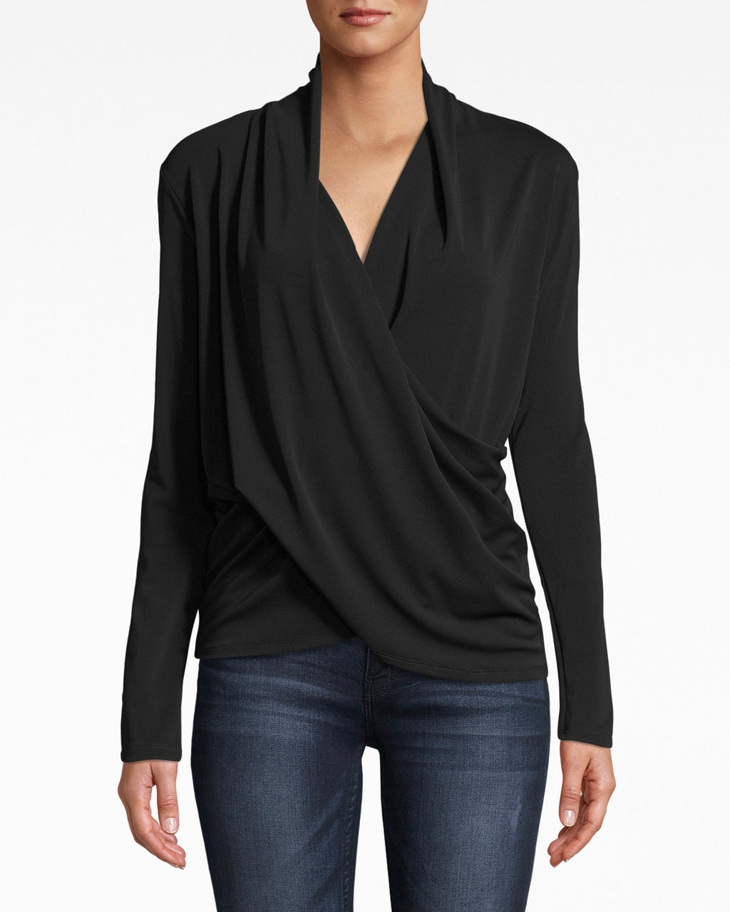 BC10299 - STRETCHY MATTE JERSEY LONG SLEEVE DRAPEY TOP - tops - shirts - Drapey chic. The long sleeves on this jersey top are a sreamlined complement to the v neck and slight collar.