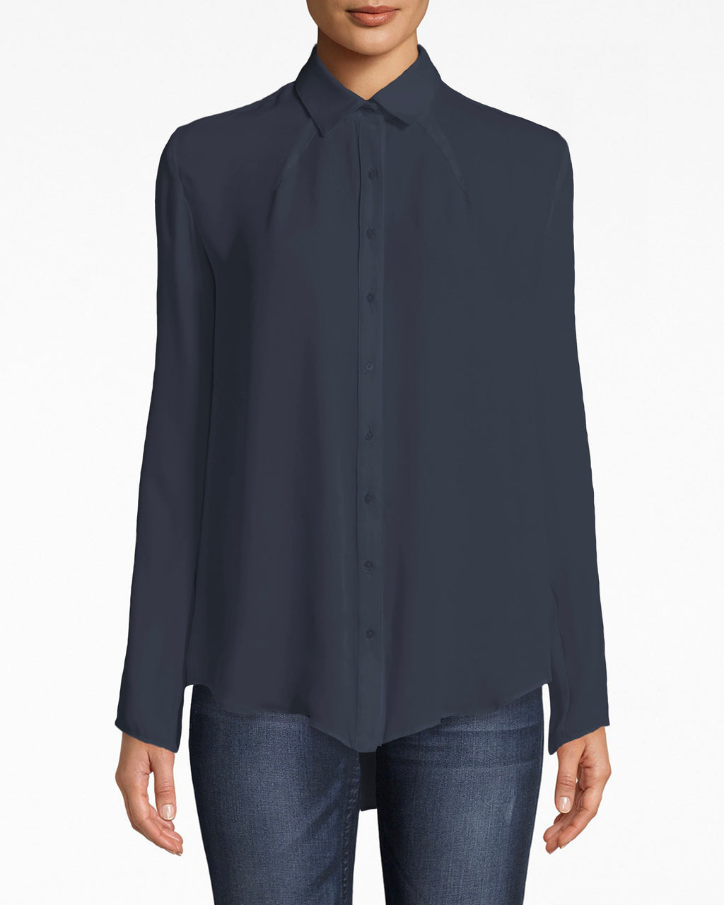 BC10300 - SILK BOYFRIEND BLOUSE With jersey back - tops - blouses - Boyfriend blouses work with just about anything. This one features a high collared neckline and a jersey back. The hem flows out naturally.