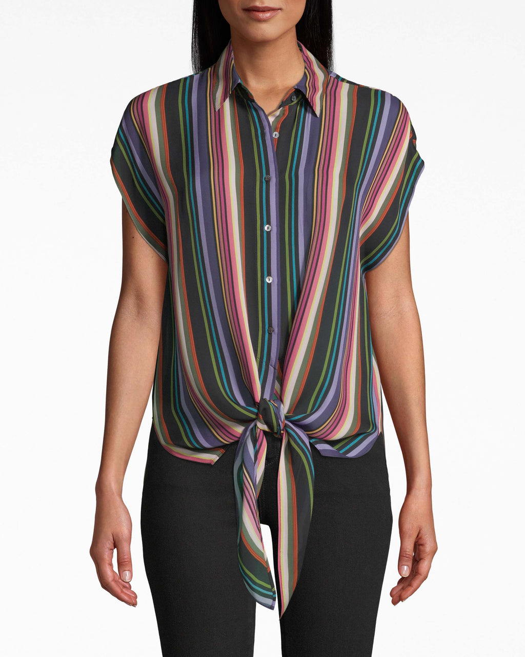 BC20045 - DOWNTOWN STRIPE BUTTON UP TIE TOP - tops - shirts - Casual. Spirited stripes give a pop to this collared, button down top. The short sleeves have a drapey effect and the front tie tops off the look. Elevate with a leather jacket.