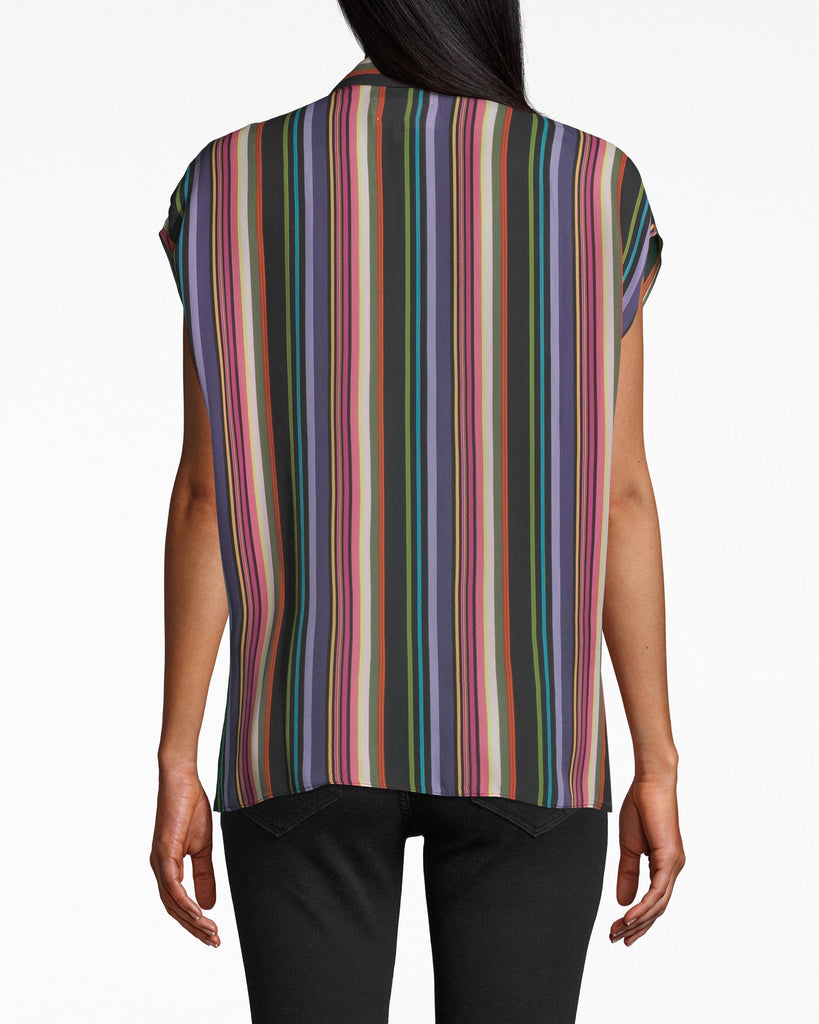 BC20045 - DOWNTOWN STRIPE BUTTON UP TIE TOP - tops - shirts - Casual. Spirited stripes give a pop to this collared, button down top. The short sleeves have a drapey effect and the front tie tops off the look. Elevate with a leather jacket. Alternate View