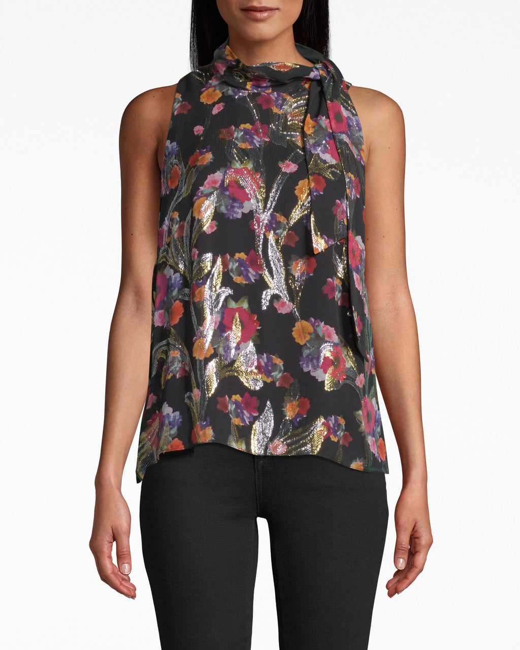 BC20083 - BOUQUET BEAUTY TURTLENECK TOP - tops - blouses - Wear from the office to cocktails. This turtleneck sleeveless top gathers at the neck and can be adjusted with the draping tie. The vibrant Bouquet Beauty print appears shiny on the front side. The hem loosely flows to the waist. Exposed buttons and keyhole opening for closure.