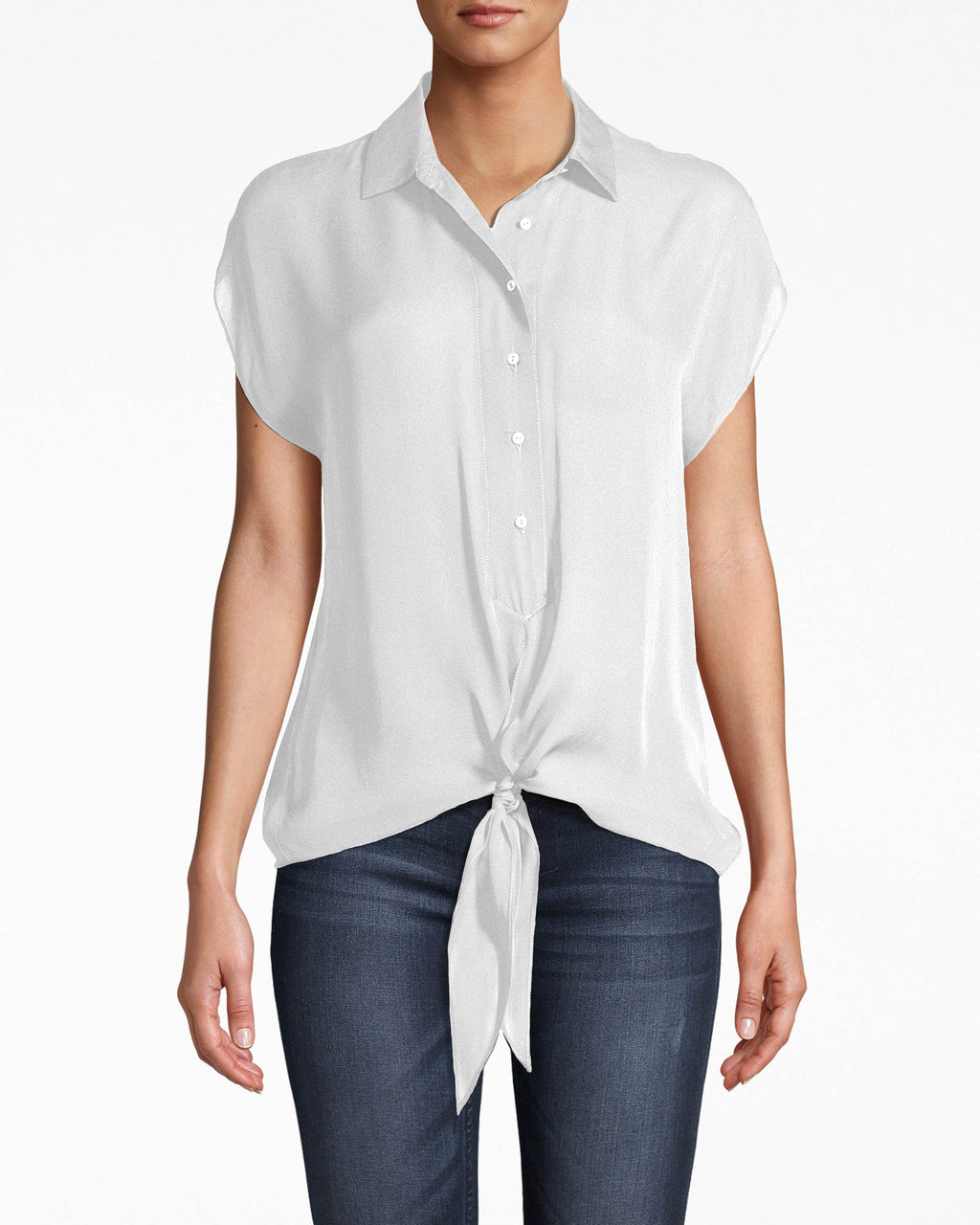 BD10211 - SILK TIE FRONT BLOUSE - tops - shirts - A CLASSIC TOP THAT ALREADY GOES WITH EVERYTHING IN YOUR CLOSET. THIS SILK TOP BUTTONS UP THE FRONT AND HAS A TIE DETAIL AT THE WAIST. LIGHTWEIGHT AND EASY TO THROW ON. Add 1 line break STYLIST TIP: WEAR WITH EVERYTHING FROM A STATEMENT BOTTOM TO PLAIN DENIM.