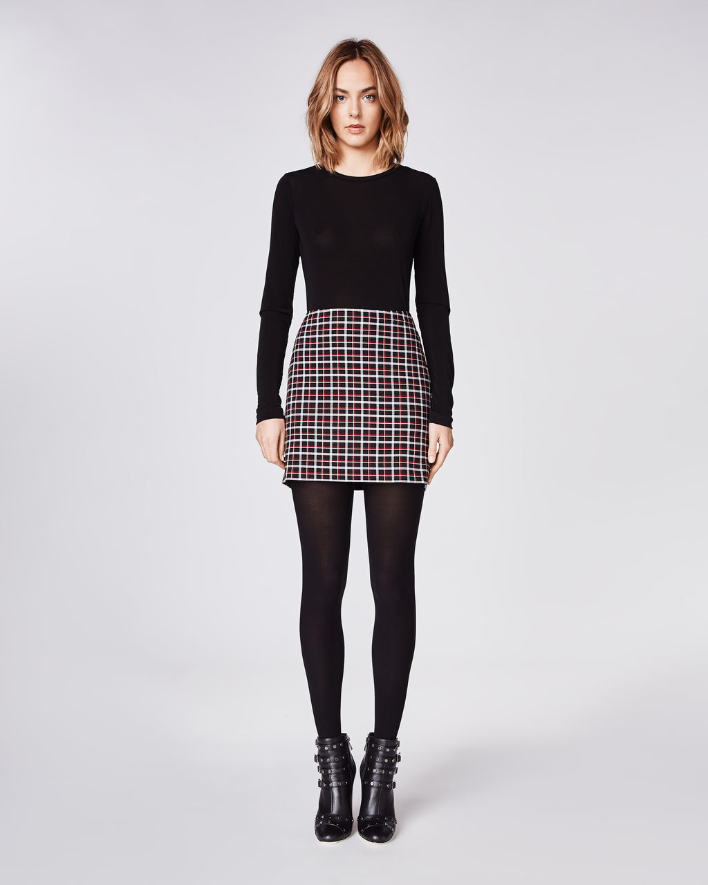 BD10250 - REVERSE PLAID MINI SKIRT - bottoms - skirts - A modern mini. This playful skirt falls mid-thigh and features a black and red plaid print. Finishedwith a concealed zipper and fully lined.