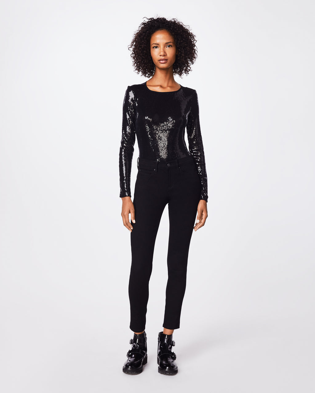 BD10254 - SEQUIN LONG SLEEVE BODYSUIT - tops - blouses - This fitted boat  neck sequined f400af933331
