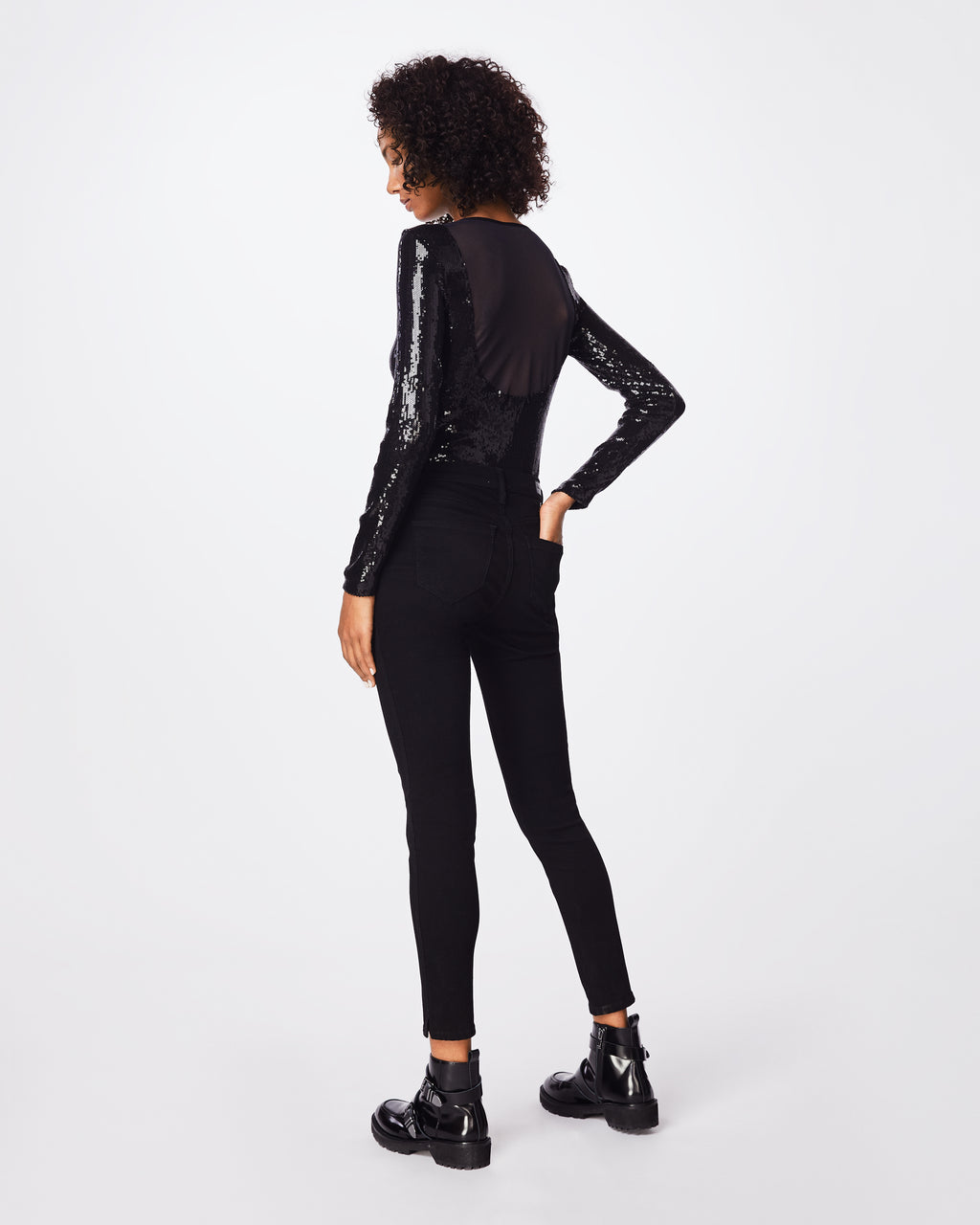 BD10254 - SEQUIN LONG SLEEVE BODYSUIT - tops - blouses - This fitted boat neck sequined long sleeve bodysuit is complete cool with scoop back mesh detail. Style with black denim or a mini skirt.