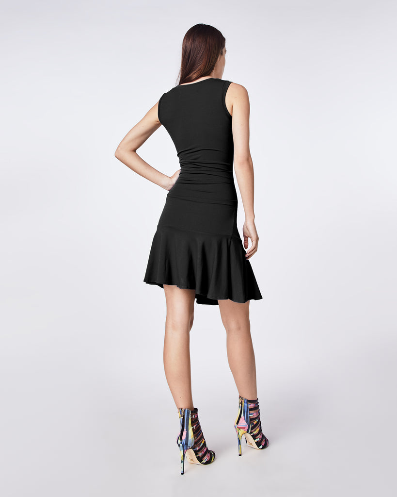 BD10261 - JERSEY TIDAL PLEAT FLARE DRESS - dresses - short - This dress is designed with a scoop neckline and ruching for a flattering look. Finished with a ruffle bottom, this dress is perfect for your night out. Fully lined Alternate View