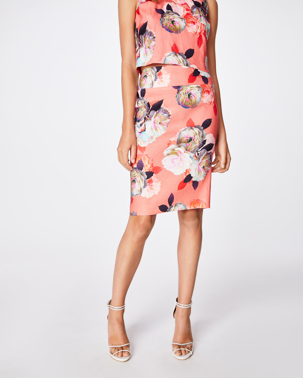 BD10266 - CONFETTI FLOWERS LINEN PENCIL SKIRT - bottoms - skirts - this fully lined, fitted coral floral skirts hits right above the knee. it's a great and easy go to skirt for the spring. pair back with the matching linen crop top for a full look.
