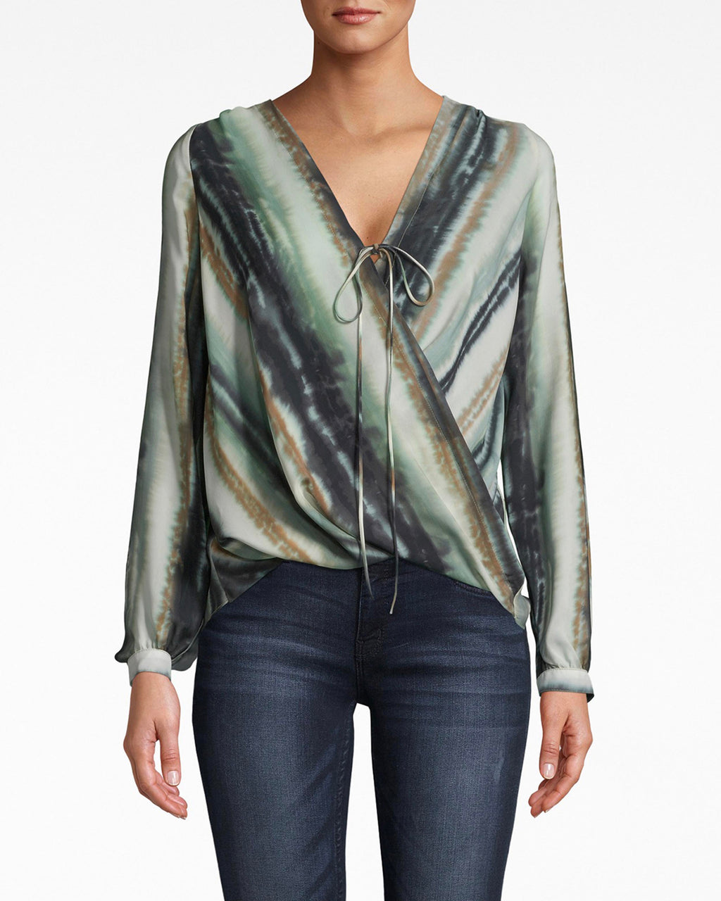 BD10279 - INK STRIPE SILK DRAPED LONG SLEEVE BLOUSE - tops - blouses - Drape and go. This silk long sleeve blouse features flowing sleeves and a front bow. The fabric wrapping adds a dynamic shape. Pair back with denim or black jeans.