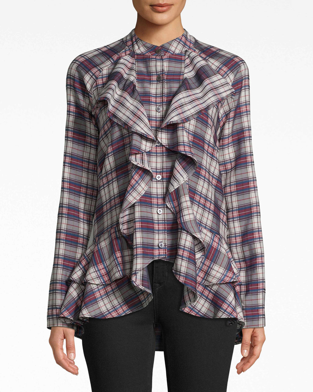 BD10282 - DOWN TOWN PLAID RUFFLE FRONT BLOUSE - tops - blouses - Downtown for the day? This plaid blouse is your choice. Its ruffles are full of life and body, fanning out from the neckline to the asymmetrical hem.