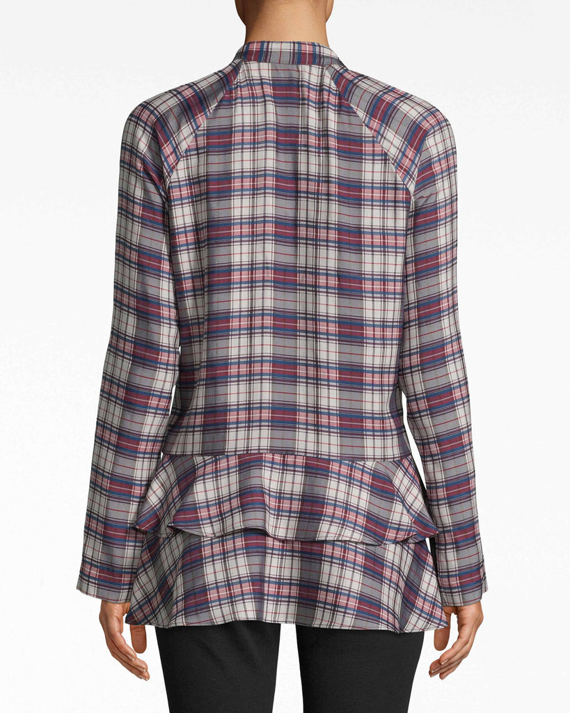 BD10282 - DOWN TOWN PLAID RUFFLE FRONT BLOUSE - tops - blouses - Downtown for the day? This plaid blouse is your choice. Its ruffles are full of life and body, fanning out from the neckline to the asymmetrical hem. Alternate View