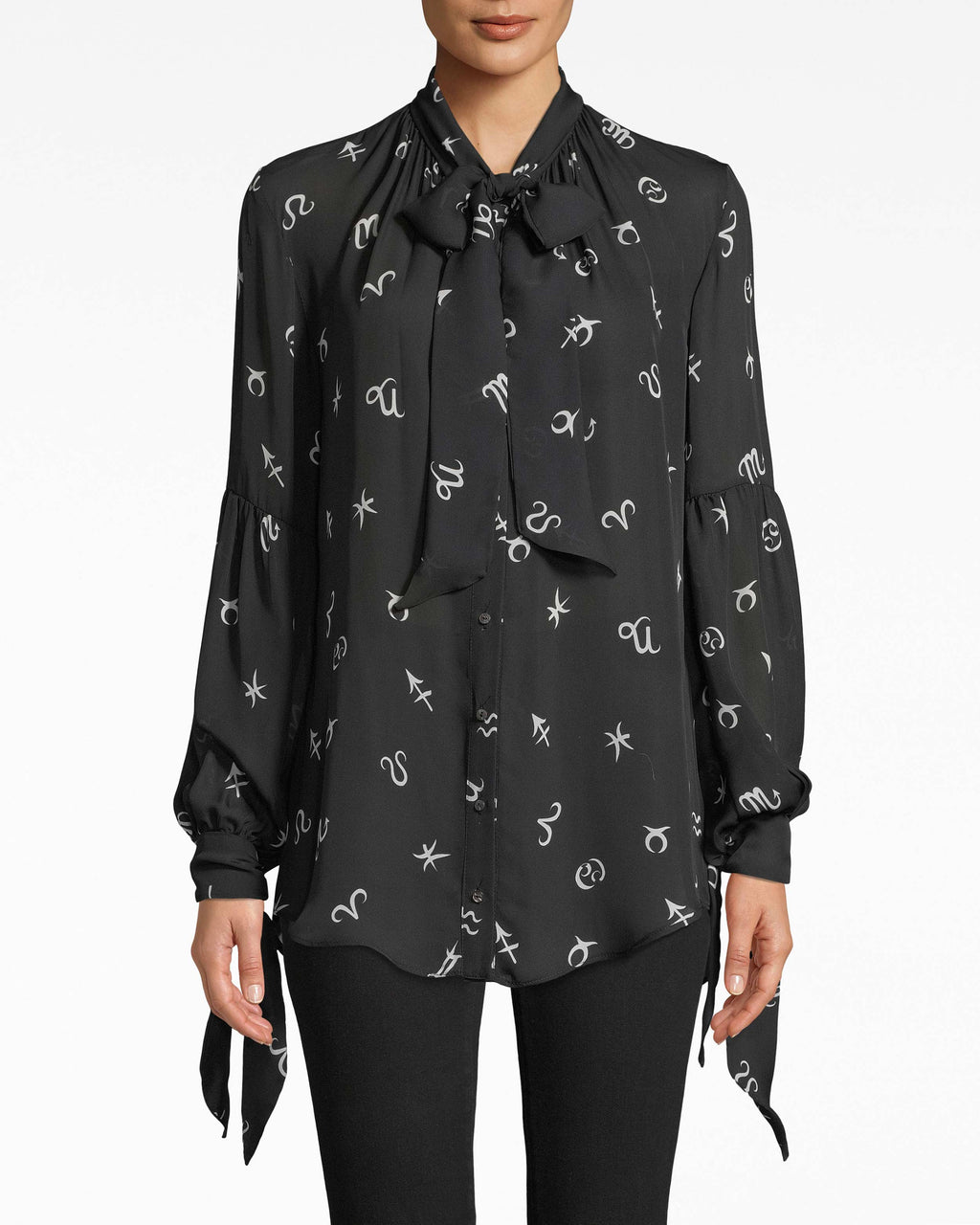 BD10287 - HOROSCOPE SILK STOCK TIE LONG SLEEVE BLOUSE - tops - blouses - Your horoscope says: this blouse. Not only does it features an astrolgical print, but it has bows on the neck and sleeves.