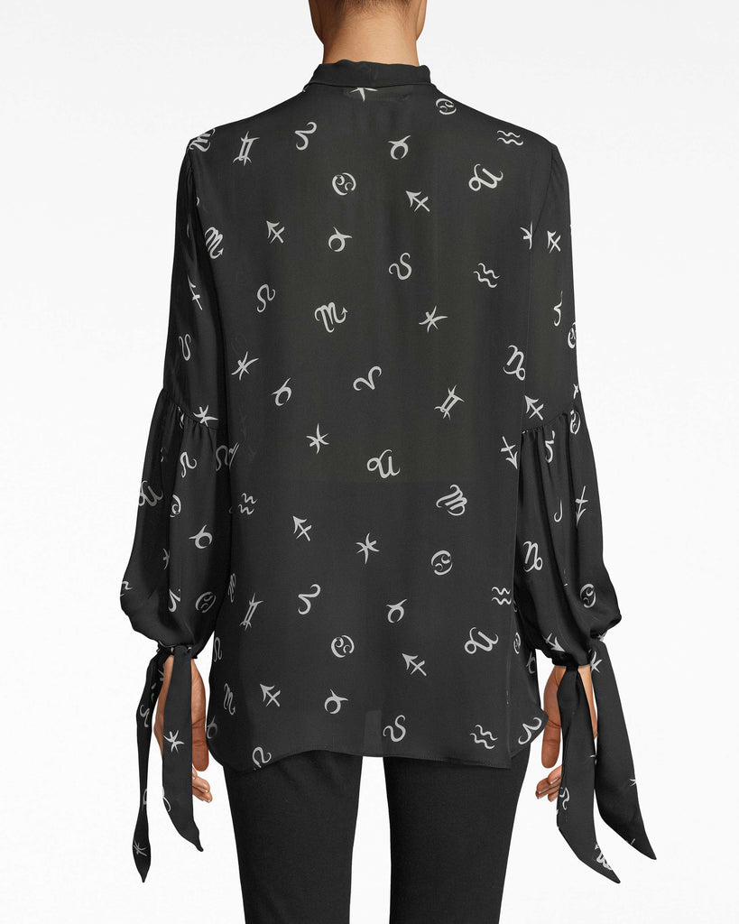 BD10287 - HOROSCOPE SILK STOCK TIE LONG SLEEVE BLOUSE - tops - blouses - Your horoscope says: this blouse. Not only does it feature an astrological print, but it has bows on the neck and sleeves. Alternate View