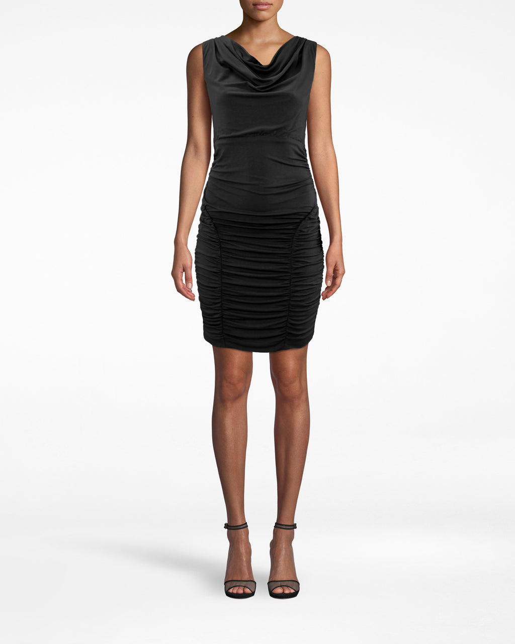 BD20068 - JERSEY RUCHED DRESS - dresses - short - Intricate fabric gathers (from the waist down) drape your body in this sleeveless dress. The neckline bunches, then loosely falls. Twin lining on the upper inner thigh gives your hips amazing shape. Pair back with strappy heels and a clutch. Exposed back zipper for closure.