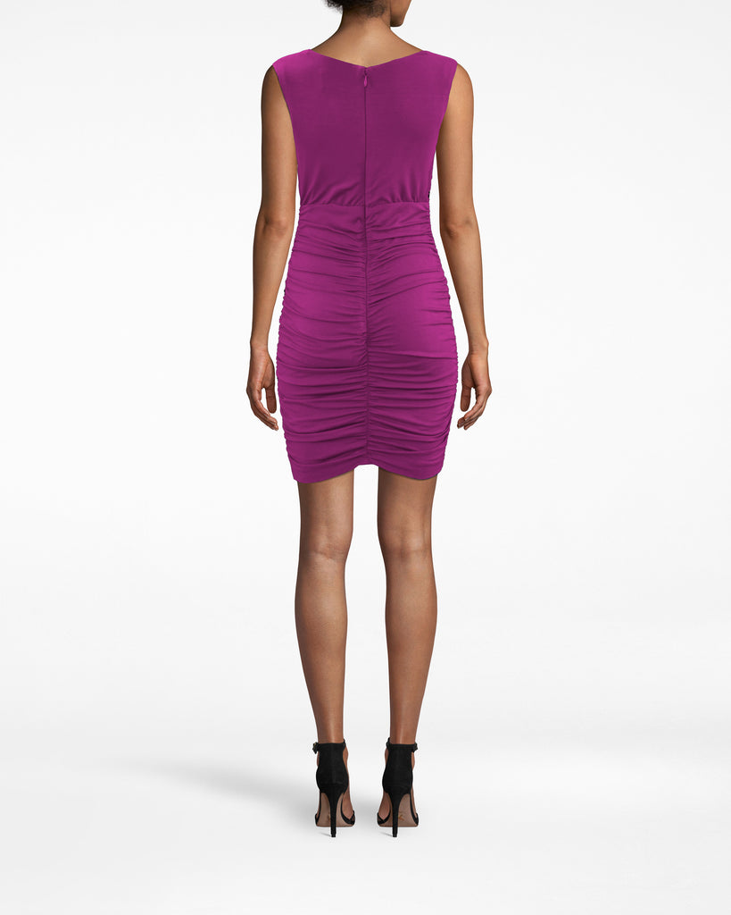 BD20068 - JERSEY RUCHED DRESS - dresses - short - Intricate fabric gathers (from the waist down) drape your body in this sleeveless dress. The neckline bunches, then loosely falls. Twin lining on the upper inner thigh gives your hips amazing shape. Pair back with strappy heels and a clutch. Exposed back zipper for closure. Alternate View
