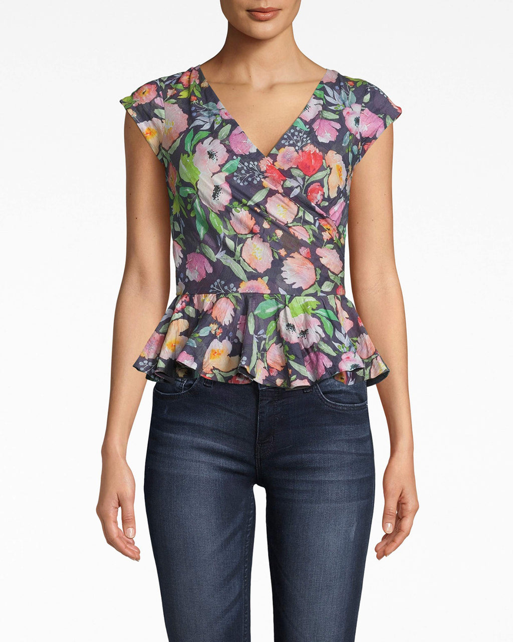BD20114 - WATERCOLOR FLORAL COTTON METAL PEPLUM TOP - tops - shirts - THIS TOP IS BEYOND FLATTERING. FITTED WITH A PEPLUM FLARE, THIS PIECE HUGS ALL THE RIGHT PLACES. MADE FROM OUR SIGNATURE COTTON METAL, THE SLIGHT SHIMMER PAIRED WITH THE FLORAL PATTERN MAKES IT ALL THE MORE EYE CATCHING.