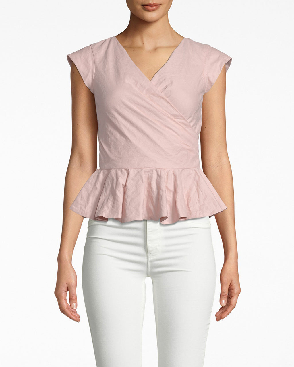 BD20126 - COTTON METAL PEPLUM TOP - tops - shirts - PRETTY IN PINK. CRAFTED IN OUR SIGNATURE COTTON METAL, THIS TOP HAS A SLIGHT SHIMMER THAT MAKES IT ALL THE MORE APPEALING. A TAILORED FIT WITH CAP SLEEVES AND A PEPLUM FLARE, THIS TOP HIGHLIGHTS YOUR SILHOUETTE WITHOUT SHOWING TOO MUCH SKIN.
