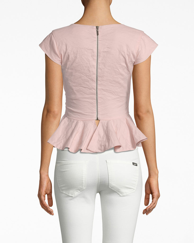 BD20126 - PEPLUM TOP - tops - shirts - PRETTY IN PINK. CRAFTED IN OUR SIGNATURE COTTON METAL, THIS TOP HAS A SLIGHT SHIMMER THAT MAKES ITALL THE MORE APPEALING. A TAILORED FIT WITH CAP SLEEVES AND A PEPLUM FLARE, THIS TOP HIGHLIGHTS YOUR SILHOUETTE WITHOUT SHOWING TOO MUCH SKIN. Alternate View