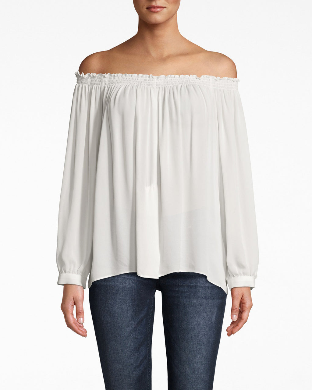 BE10194 - SILK ROCKY SMOCKED OFF THE SHOULDER TOP - tops - blouses - The soulmate for jeans. This off the shoulder top features smocking at the neckline and a flowy body, and the wrists are structured cuffs. Tie the hem to make things a little more casual.