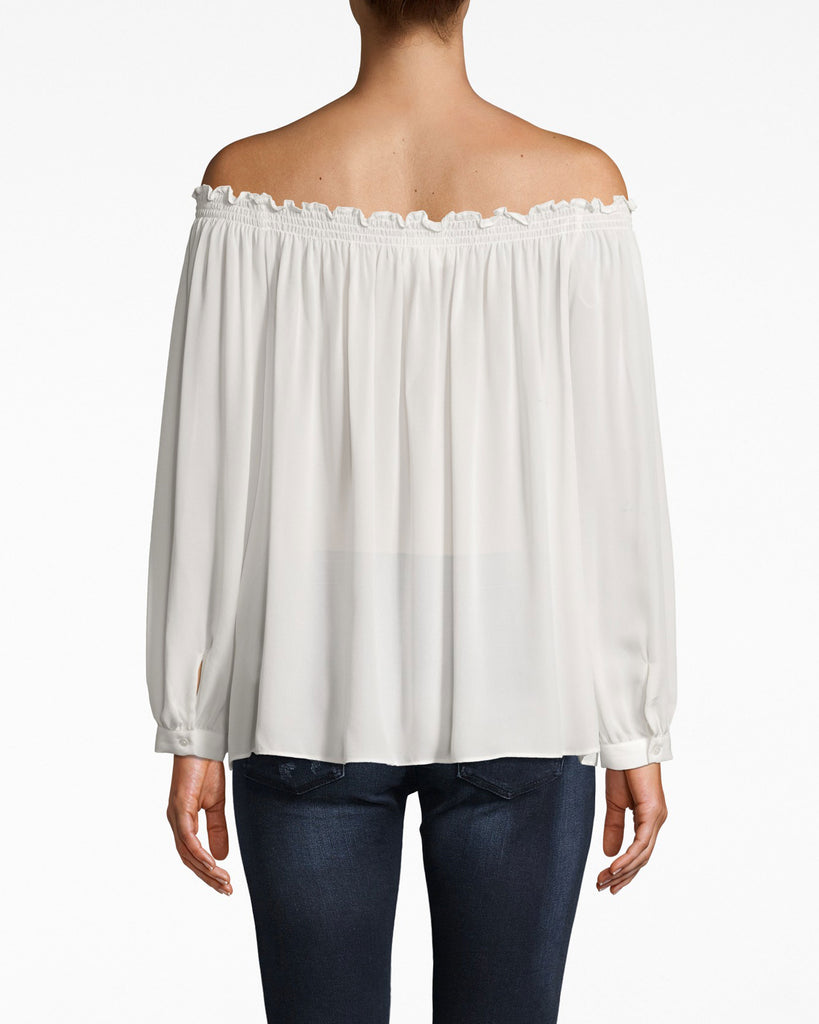 BE10194 - SILK ROCKY SMOCKED OFF THE SHOULDER TOP - tops - blouses - The soulmate for jeans. This off the shoulder top features smocking at the neckline and a flowy body, and the wrists are structured cuffs. Tie the hem to make things a little more casual. Alternate View