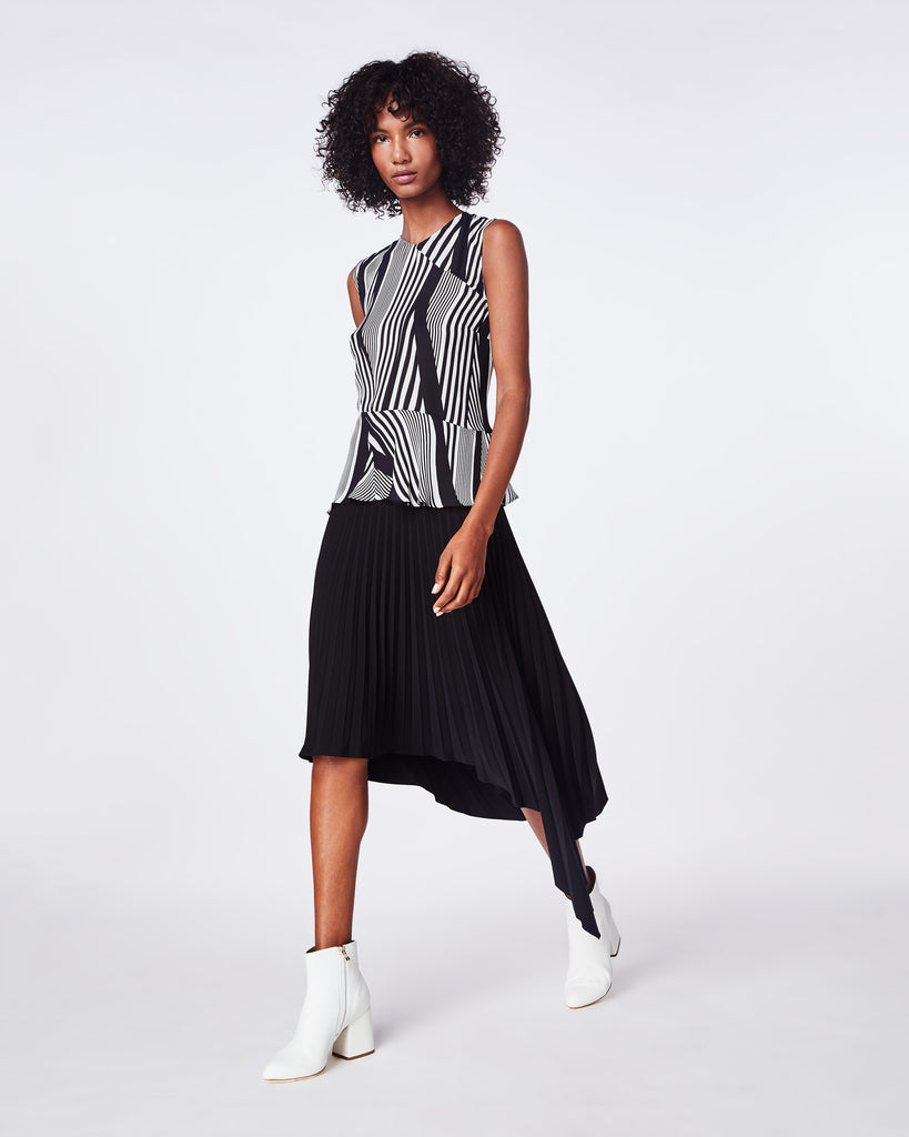 BE10363 - WAVY STRIPE ASYMMETRICAL TOP - tops - blouses - THIS HIGHNECK, SLEEVELESS TOP DRAPES BEAUTIFULLY. THE SHEER PRINTED FABRIC PAIRS WELL WITH YOUR FAVORITE JEANS OR A MINI SKIRT. Alternate View