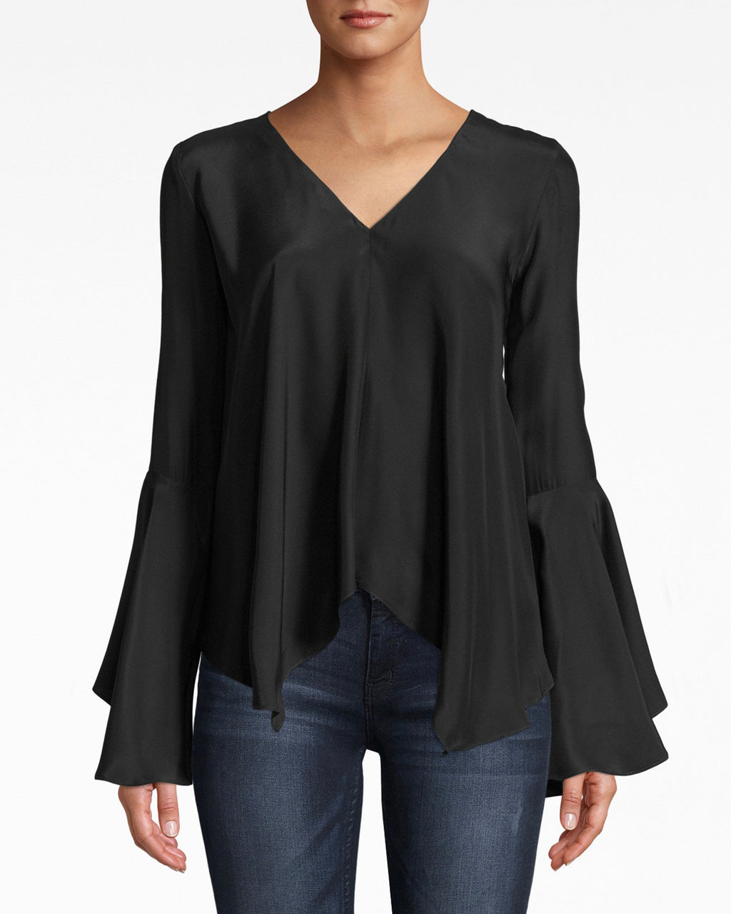 BE10376 - SILK BELL SLEEVE TOP - tops - blouses - Flirty and feminine, this bell sleeve v neck top has a simple silhouette that's best matched with denim or dress pants. The back upper band adds a modern shape. Silk.