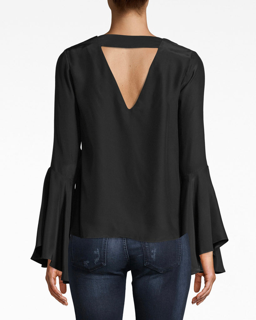 BE10376 - SILK BELL SLEEVE TOP - tops - blouses - Flirty and feminine, this bell sleeve v neck top has a simple silhouette that's best matched with denim or dress pants. The back upper band adds a modern shape. Silk. Alternate View