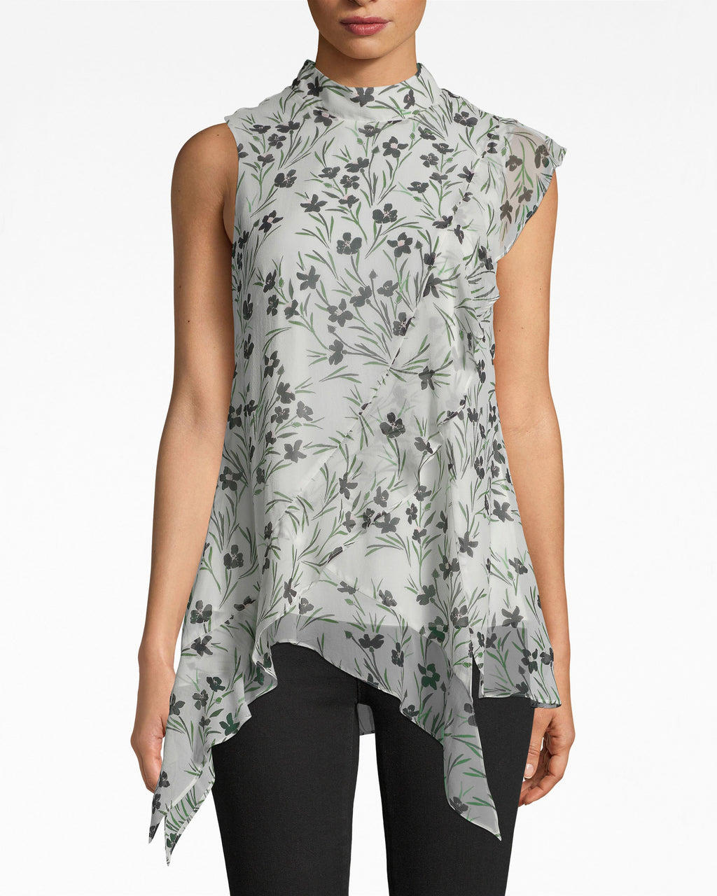 BE10383 - FLOWER PATCH SILK MOCK NECK BLOUSE - tops - blouses - HOW DARLING. OUR SILK BLOUSE IS ESSENTIAL FOR BRUNCH WITH THE PARENTS: IT HAS A MOCK NECK AND FEMININE, ASYMMETRICAL HEM. BACK NECK BUTTON FOR CLOSURE.