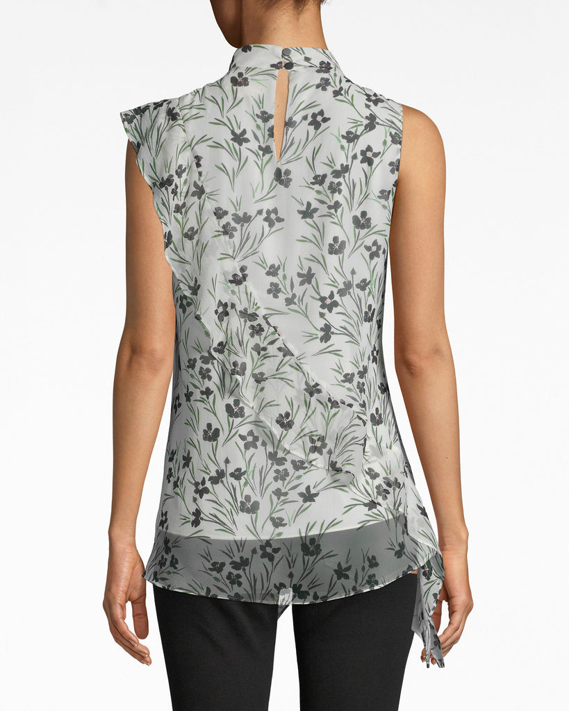 BE10383 - FLOWER PATCH SILK MOCK NECK BLOUSE - tops - blouses - HOW DARLING. OUR SILK BLOUSE IS ESSENTIAL FOR BRUNCH WITH THE PARENTS: IT HAS A MOCK NECK AND FEMININE, ASYMMETRICAL HEM. BACK NECK BUTTON FOR CLOSURE. Alternate View