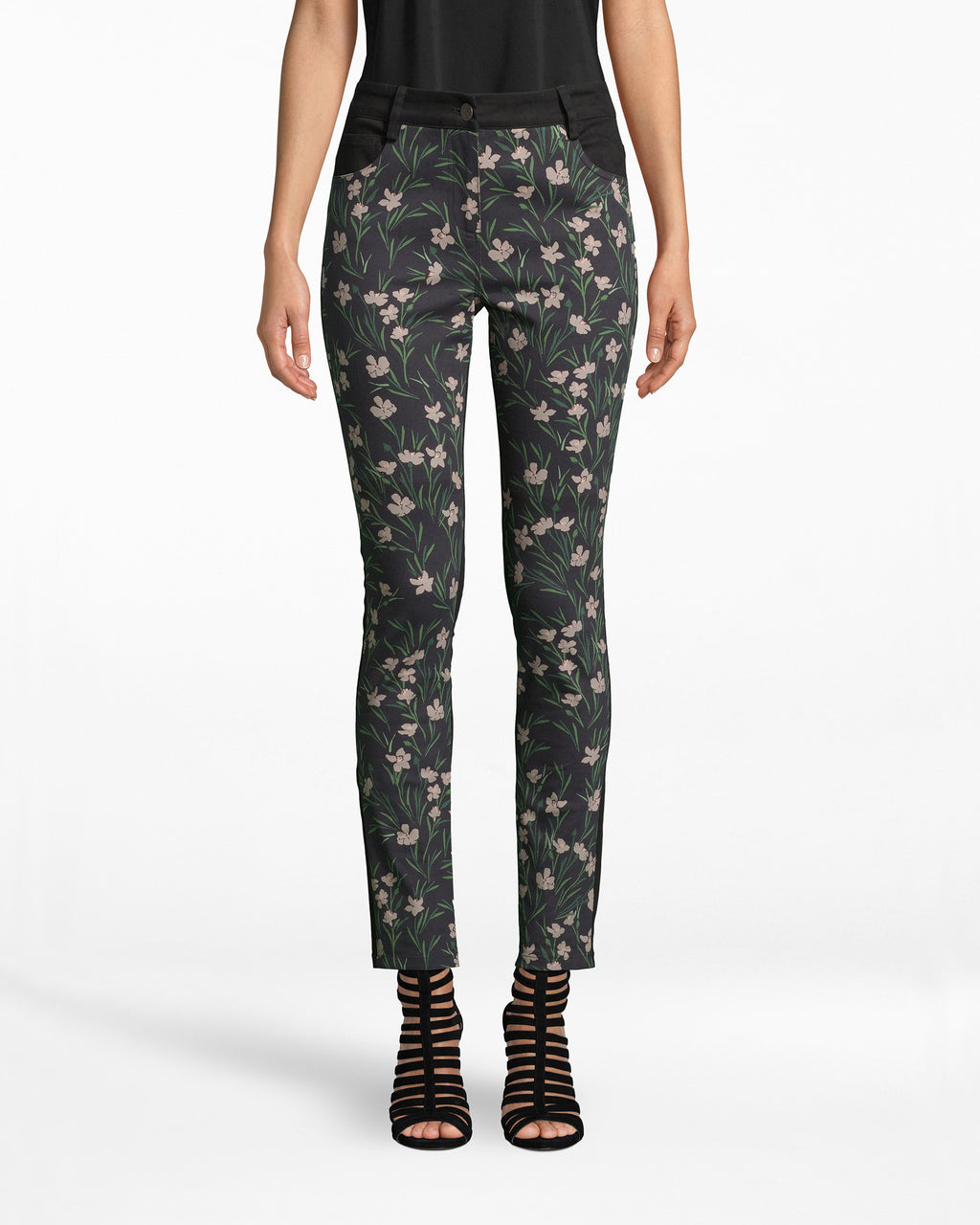 BE10384 - FLOWER PATCH DENIM SKINNY PANT - bottoms - pants - Flower Power Pants. These skinny denim are growing our Flower Patch print on the front and a simple black hue on the back. Pair with our Flower Patch Denim Oversized Jacket.