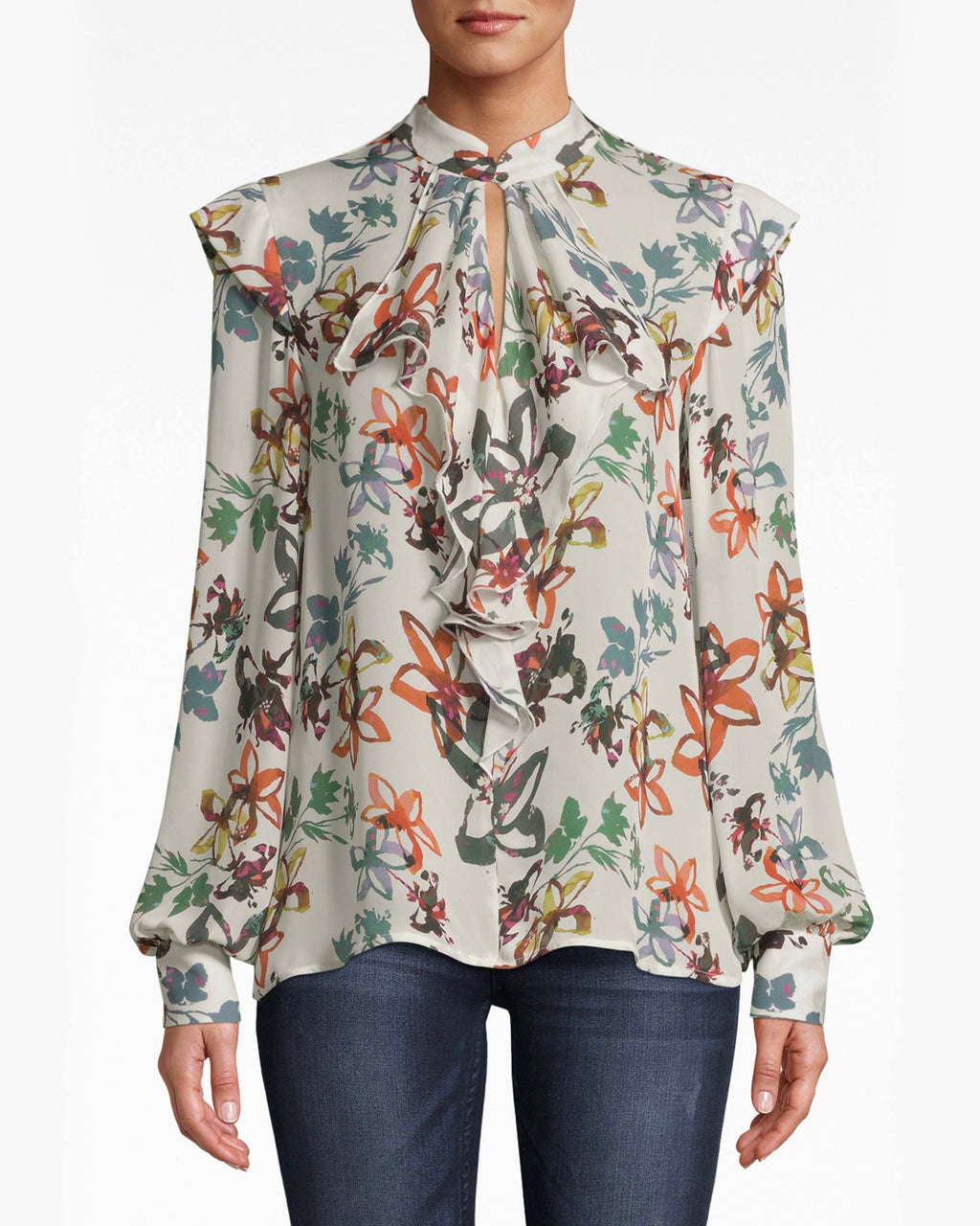 BE10387 - AUTUMN DREAM SILK RUFFLE BLOUSE - tops - blouses - Cascading ruffles on this silk blouse are the centerpiece for the eyes. The loose sleeves balloon at the cuffs. A keyhole opening embedded in the neckline balances the structured collar. Pair back with simple denim.