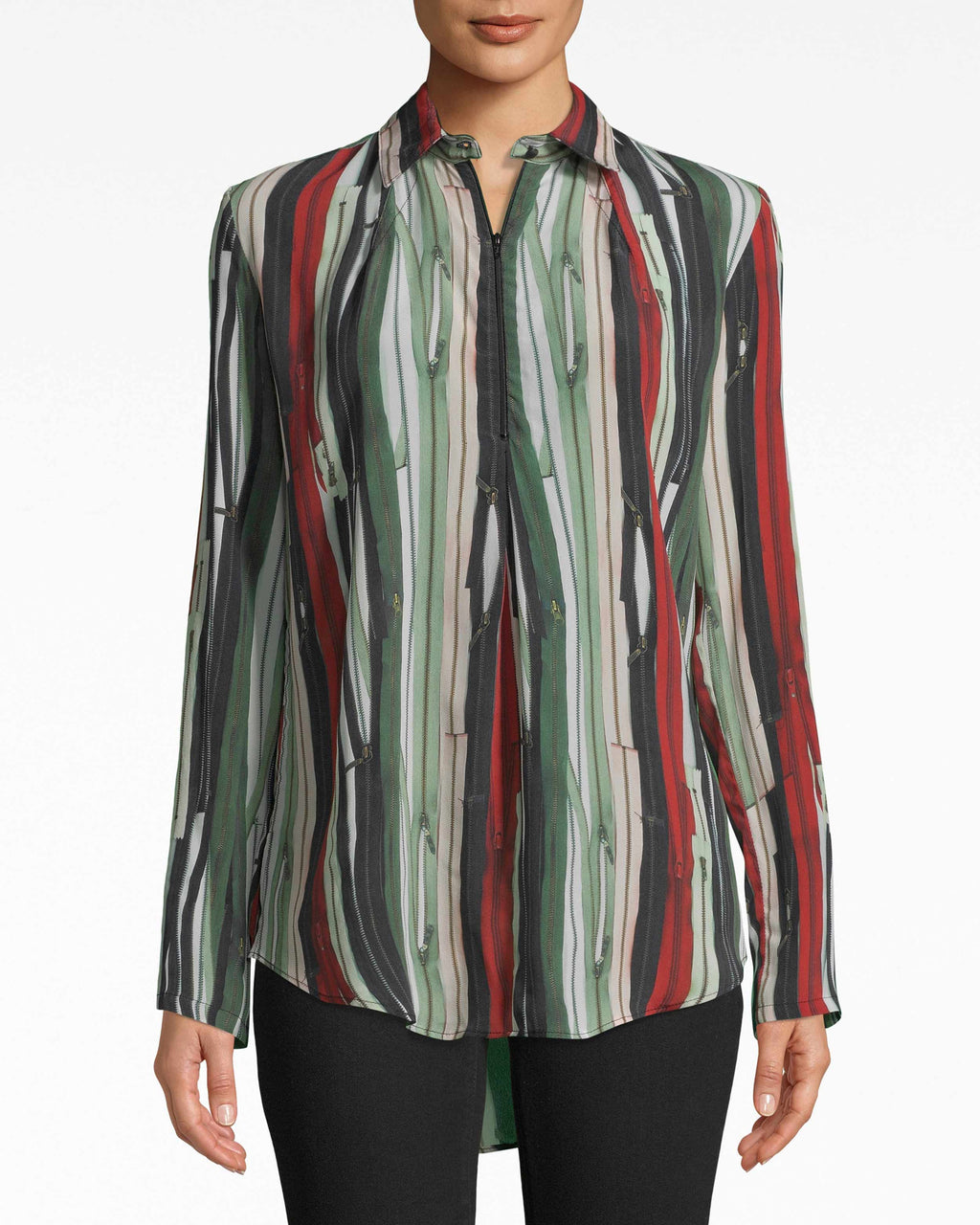 BE10392 - ZIPPER STRIPE ZIP FRONT BOYFRIEND BLOUSE - tops - blouses - Signed, zipped, yours. This boyfriend blouse is everything zipper: the print is the groundwork for the tiny zipper details. A small button closes the spread collar.