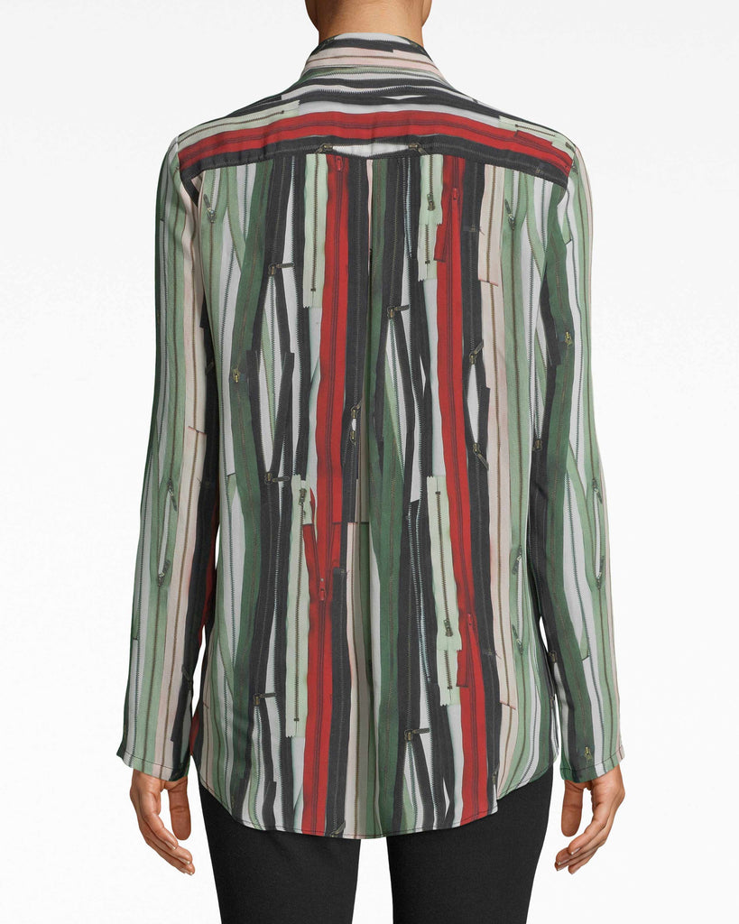BE10392 - ZIPPER STRIPE ZIP FRONT BOYFRIEND BLOUSE - tops - blouses - Signed, zipped, yours. This boyfriend blouse is everything zipper: the print is the groundwork for the tiny zipper details. A small button closes the spread collar. Alternate View