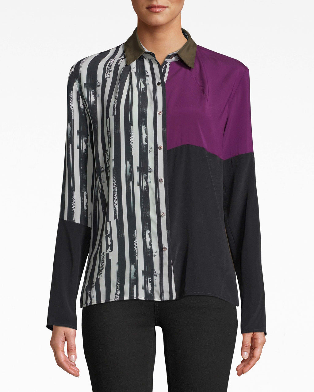 BE10394 - UP AND UP STRIPE BOYFRIEND BLOUSE - tops - blouses - Up and away. Contrasting prints make the best of both worlds on this chic boyfriend blouse. Pair back with simple bottoms.