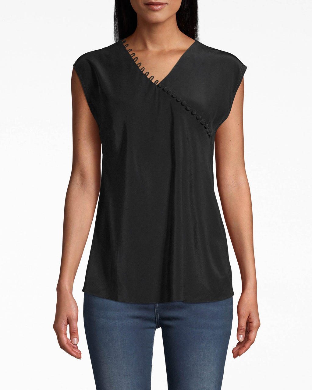 BE10399 - SOLID SILK BUTTON LOOP BLOUSE - tops - blouses - YOU'LL BE HAPPY TO KNOW THIS SURPLICE TANK ALREADYGOES WITH JUST ABOUT EVERYTHING IN YOUR CLOSET. BUTTON DETAILING UPGRADES THIS BASIC TO ANYTHING BUT.