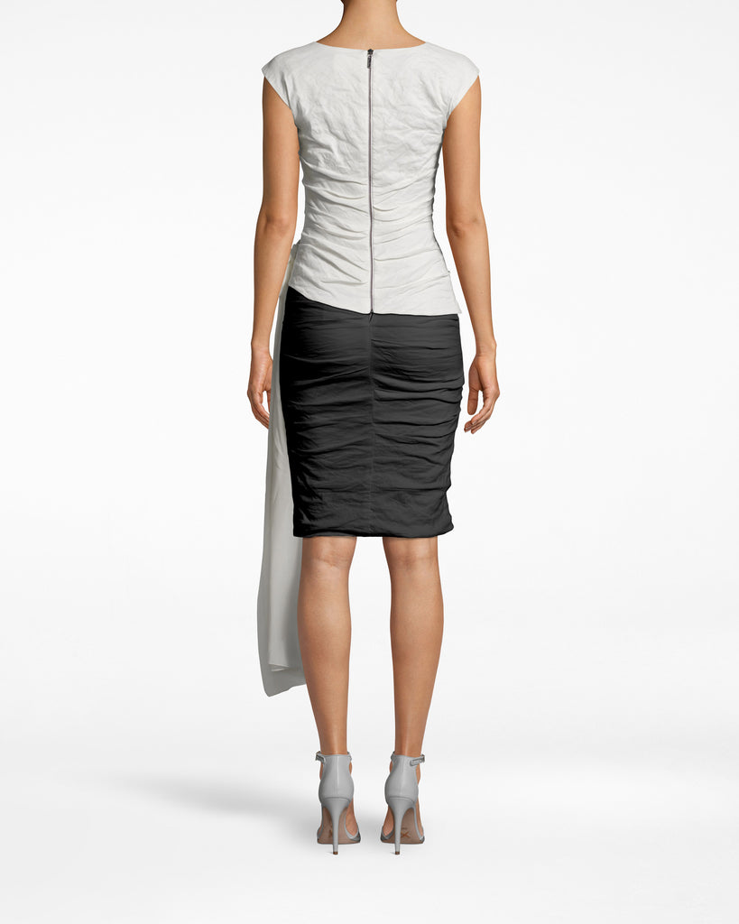 BE10400 - SOLID COTTON METAL TIE TOP - tops - shirts - THIS TOP IS CUT IN A CLASSIC HIGH NECK SHAPE BUT IS UPGRADED BY THE LONG, TIE DETAIL. OUR SIGNATURE COTTON METAL CREATES A FLATTERING SILHOUETTE THAT PAIRS WELL WITH A TAILORED PANT OR SKIRT. EXPOSED BACK ZIPPER AND FULLY LINED. Alternate View