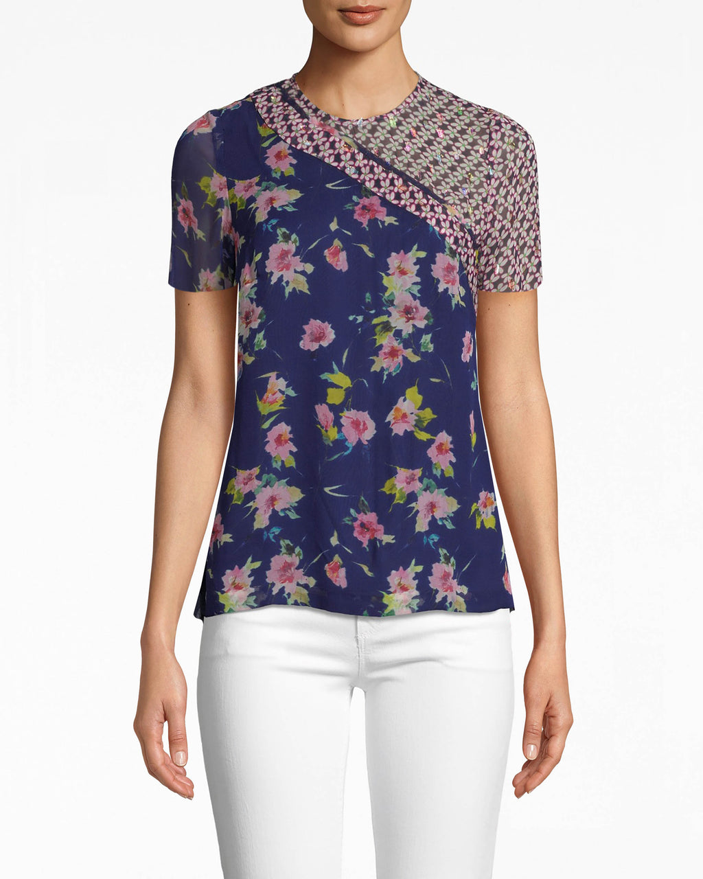 BE10401 - COSMO FLORA T-SHIRT - tops - blouses - BORING T-SHIRTS BE GONE. THIS FLORAL T-SHIRT PAIRSWELL WITH JUST ABOUT EVERYTHING AND FEATURES A BITOF SHIMMER FOR ADDED GLAMOUR.