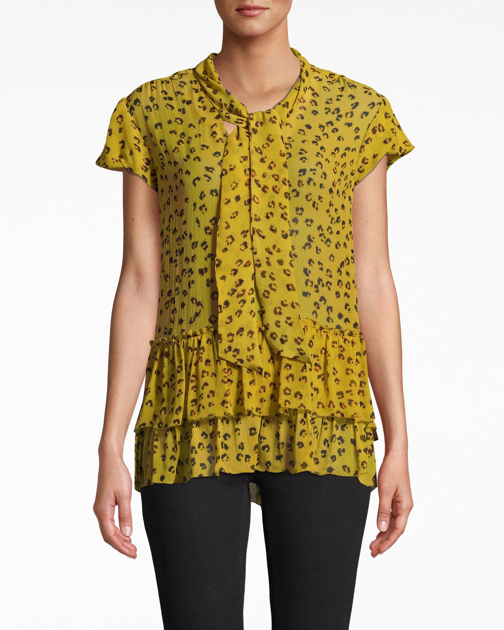 BE10405 - DITSY LEOPARD RUFFLE TIE BLOUSE - tops - blouses - THIS WEAR ANYWHERE STYLE HAS A FEMININE TIE FRONT AND RUFFLE HEMLINE. DESIGNED IN LEOPARD PRINT IN LIGHTWEIGHT SILK. Add 1 line break STYLIST TIP: WEAR WITH A DENIM SKIRT AND YOUR FAVORITE SHOES.